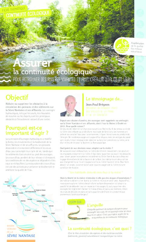 Assurer la continuité écologique pour retrouver des rivières vivantes et améliorer la qualité de l'eau - application/pdf