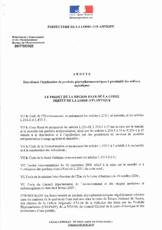 Arrêté préfectoral de Loire-Atlantique interdisant l'application de produits phytopharmaceutiques à proximité des milieux aquatiques - application/pdf