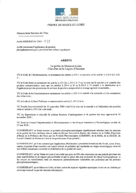 Arrêté préfectoral de Maine-et-Loire interdisant l'application de produits phytopharmaceutiques à proximité des milieux aquatiques - application/pdf