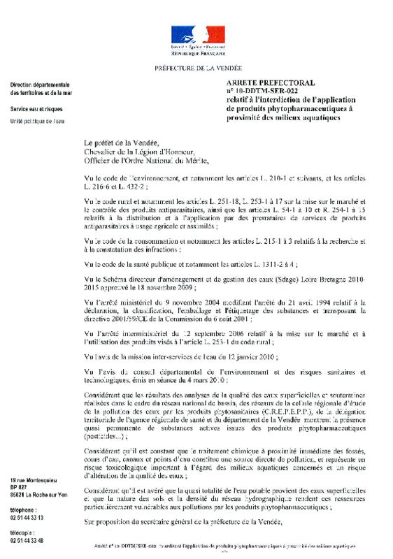 Arrêté préfectoral de la Vendée interdisant l'application de produits phytopharmaceutiques à proximité des milieux aquatiques - application/pdf