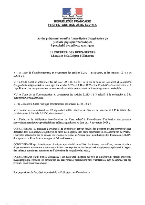 Arrêté préfectoral des Deux-Sèvres interdisant l'application de produits phytopharmaceutiques à proximité des milieux aquatiques - application/pdf