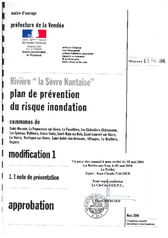rapport de présentation du PPRI de la Sèvre Nantaise en Vendée - application/pdf