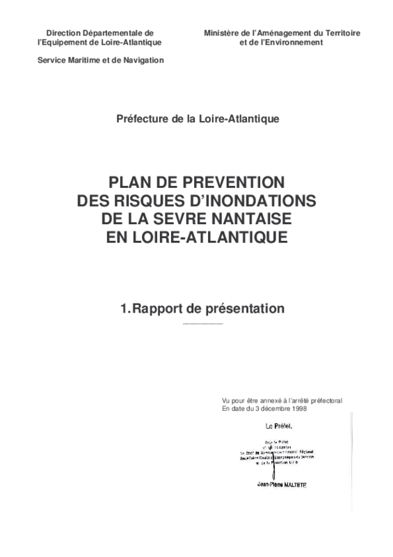 Rapport de présentation du PPRI de la Sèvre Nantaise en Loire-Atlantique - application/pdf
