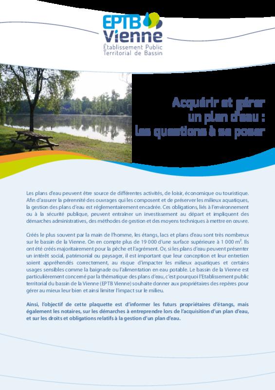 Acquérir et gérer un plan d'eau : les questions à se poser - application/pdf