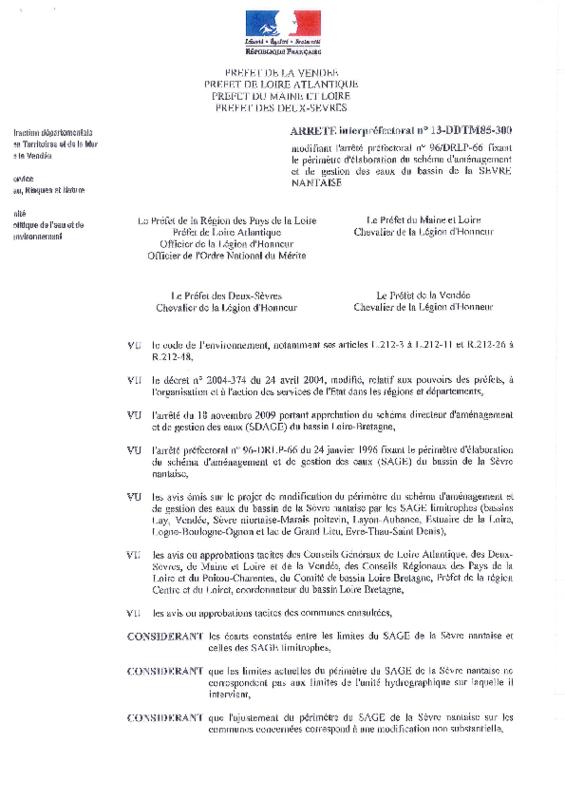 Arrêté interpréfectoral n° 13-DDTM85-300 du 26 mars 2013 modifiant l'arrêté préfectoral n° 96/DRLP-66 fixant le périmètre d'élaboration du schéma d'aménagement et de gestion des eaux du bassin de la Sèvre Nantaise - application/pdf