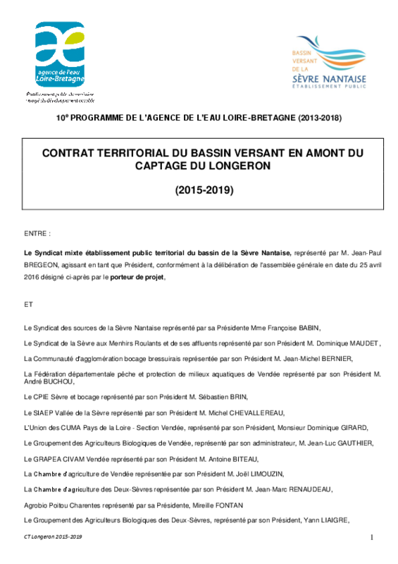 Contrat territorial du bassin versant en amont du captage du Longeron - application/pdf