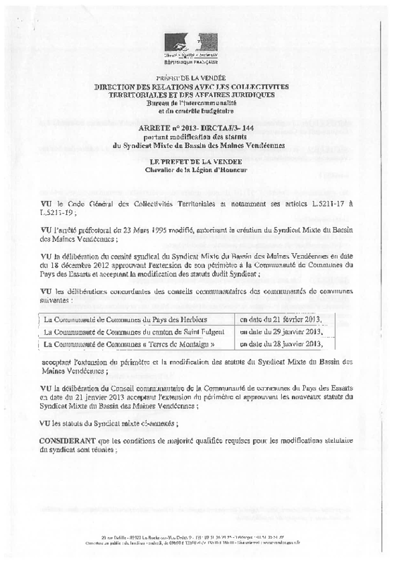 Statuts du syndicat mixte des Maines vendéennes - application/pdf