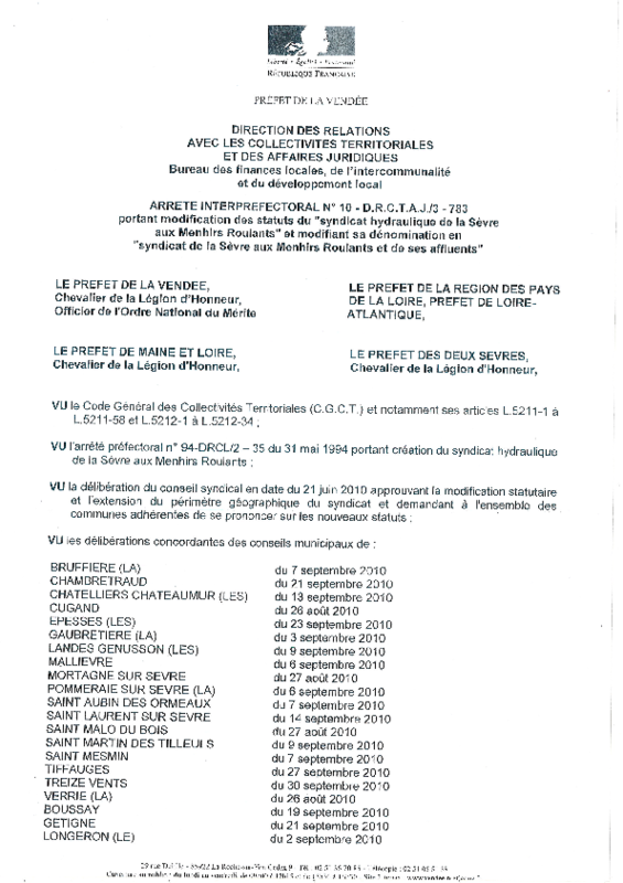 Statuts du syndicat hydraulique de la Sèvre aux Menhirs Roulants - application/pdf