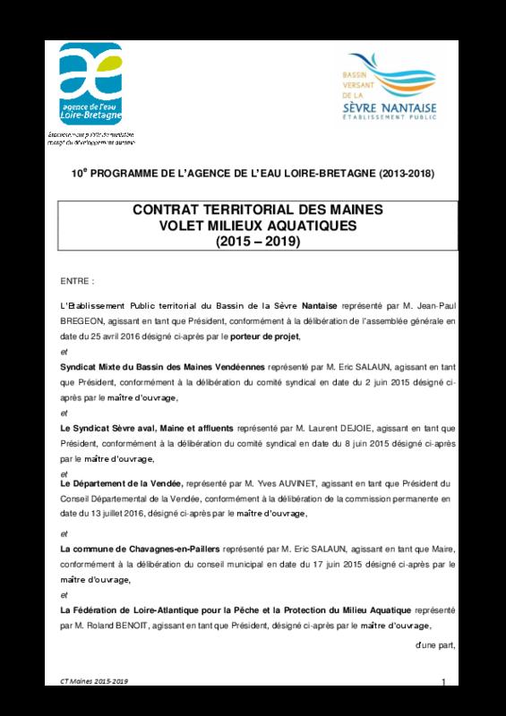 Contrat territorial milieux aquatique des Maines - application/pdf