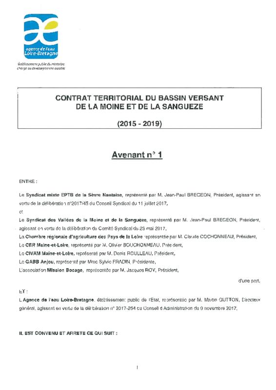 Avenant n°1 au contrat territorial du bassin versant de la Moine et de la Sanguèze (2015-2019) - application/pdf