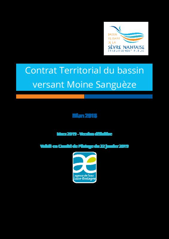 Bilan 2018 du contrat territorial du bassin versant Moine Sanguèze - application/pdf