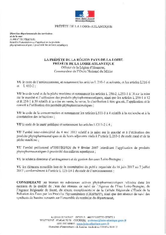 Arrêté préfectoral n° 2017/SEE/1181 du 18/07/2017 relatif à l'interdiction de l'application de produits phytopharmaceutiques à proximité des milieux aquatiques - application/pdf