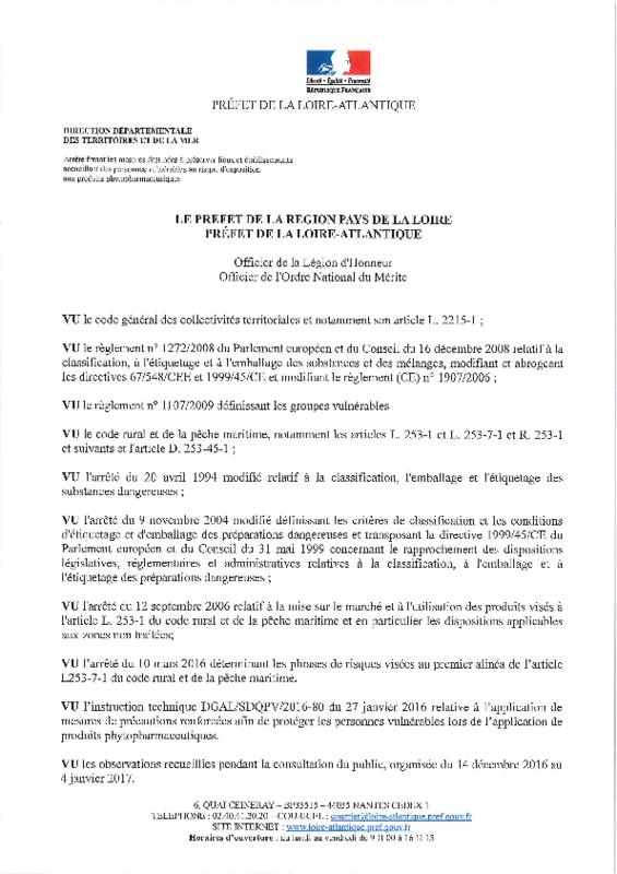 Arrêté préfectoral du 06/02/2017 fixant les mesures destinées à préserver lieux et établissements accueillant des personnes vulnérables au risque d'exposition aux produits phytopharmaceutiques - application/pdf
