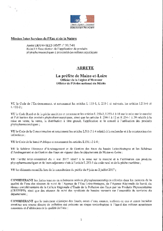 Arrêté préfectoral DDT49-SEEF-MMT n° 2017-01 relatif à l'interdiction de l'application de produits phytopharmaceutiques à proximité des milieux aquatiques - application/pdf