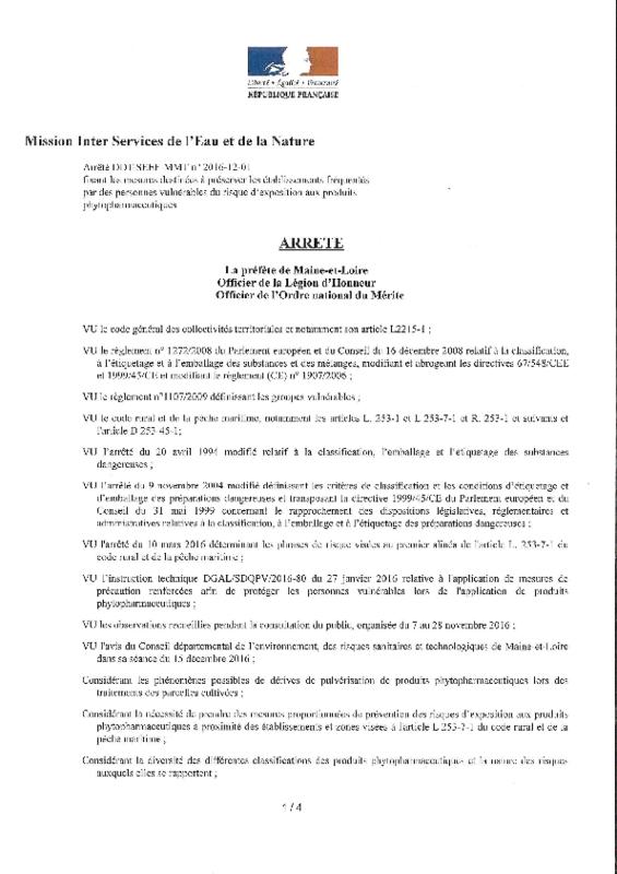 Arrêté préfectoral DDT-SEEF-MMT n° 2016-12-01 fixant les mesures destinées à préserver les établissements fréquentés par des personnes vulnérables du risque d'exposition aux produits phytopharmaceutiques - application/pdf