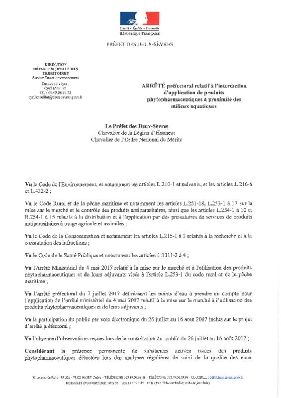 Arrêté préfectoral du 20/11/2017 relatif à l'interdiction d'application de produits phytopharmaceutiques à proximité des milieux aquatiques - application/pdf