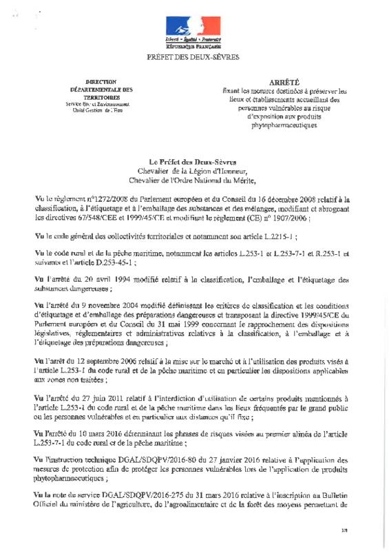 Arrêté préfectoral du 19/09/2016 fixant les mesures destinées à préserver les lieux et établissements accueillant des personnes vulnérables au risque d'exposition aux produits phytopharmaceutiques - application/pdf
