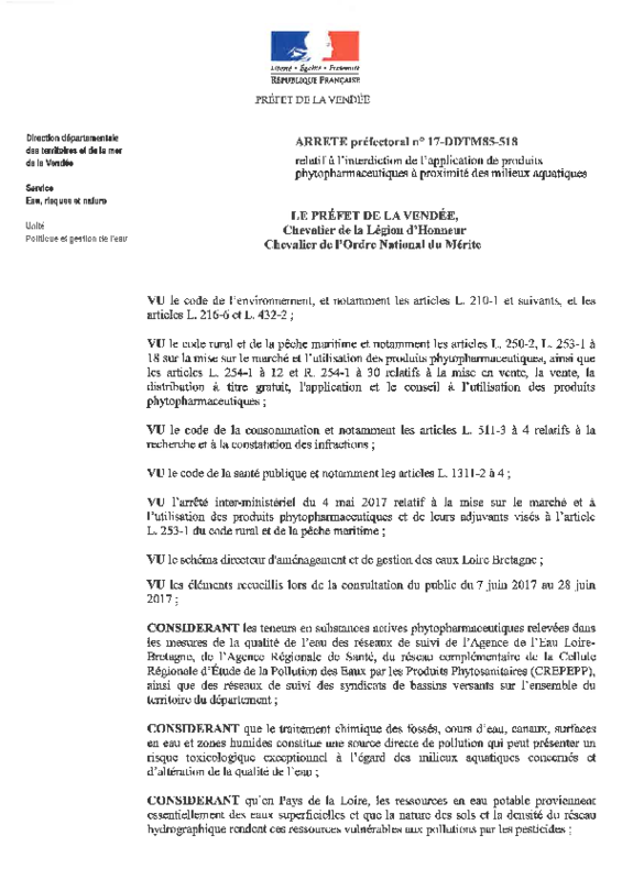 Arrêté préfectoral n° 17-DDTM85-518 du 28/08/2017 relatif à l'interdiction de l'application de produits phytopharmaceutiques à proximité des milieux aquatiques - application/pdf