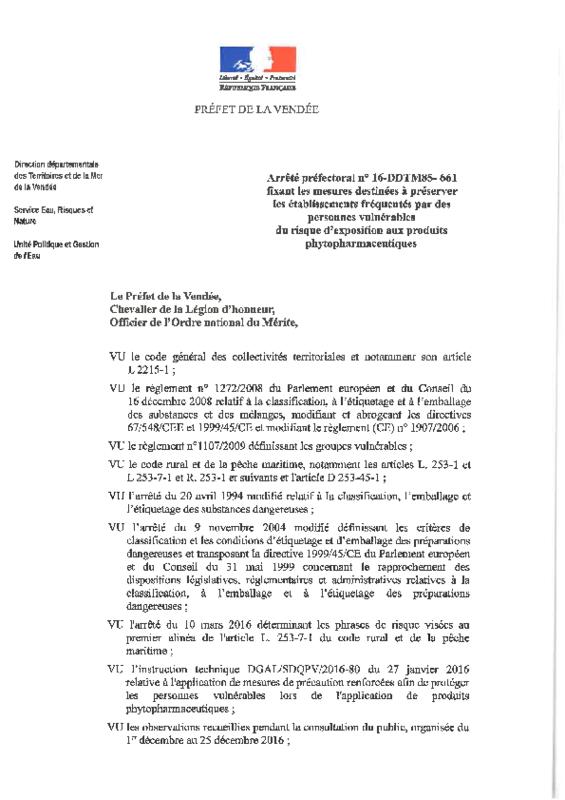 Arrêté préfectoral n° 16-DDTM85-661 du 28/12/2016 fixant les mesures destinées à préserver les établissements fréquentés par des personnes vulnérables du risque d'exposition aux produits phytopharmaceutiques - application/pdf
