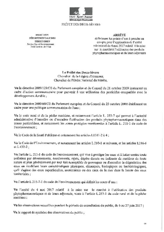 Arrêté du 07/07/2017 définissant les points d'eau à prendre en compte pour l'application de l'arrêté ministériel du 4 mai 2017 relatif à la mise sur le marché à l'utilisation des produits phytopharmaceutiques et de leurs adjuvants - application/pdf