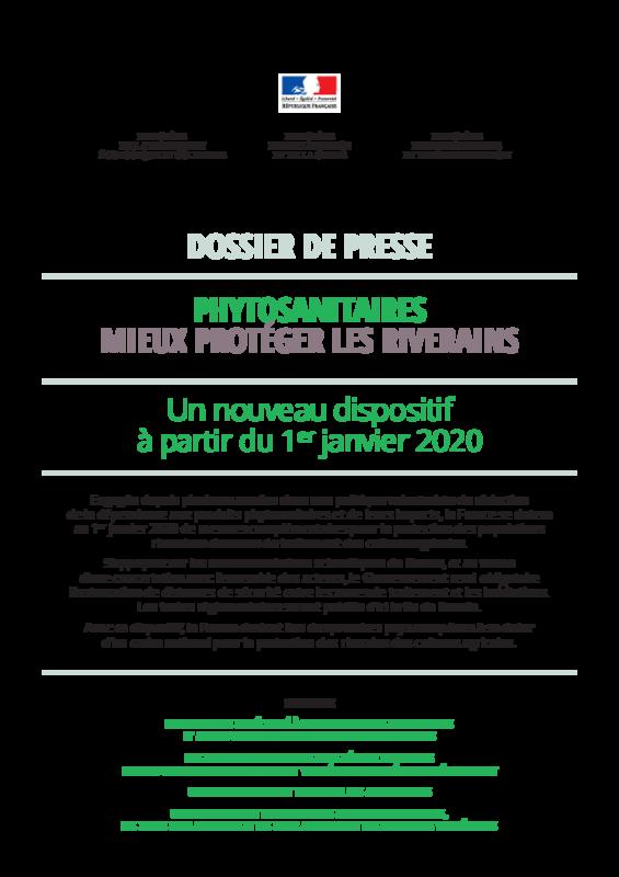"""Dossier de presse : """"Phytosanitaires mieux protéger les riverains"""" : Un nouveau dispositif à partir du 1er janvier 2020 - application/pdf"""