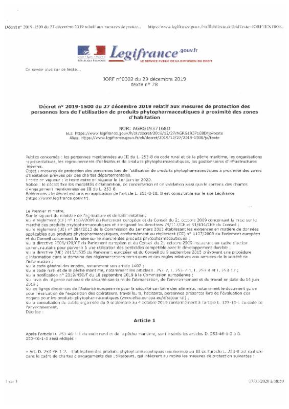 Décret n° 2019-1500 du 27 décembre 2019 relatif aux mesures de protection des personnes lors de l'utilisation de produits phytopharmaceutiques à proximité des zones d'habitation - application/pdf