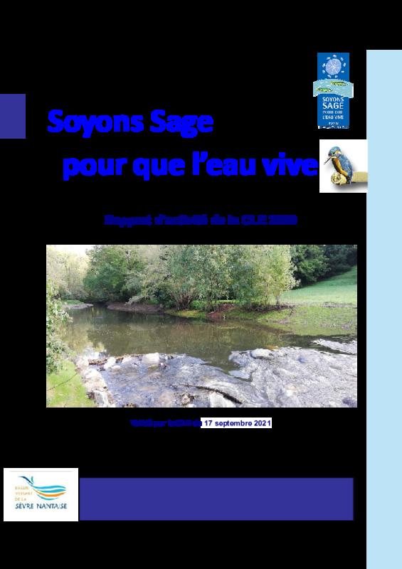 Rapport d'activité 2020 de la Commission Locale de l'Eau (CLE) du SAGE Sèvre nantaise - application/pdf