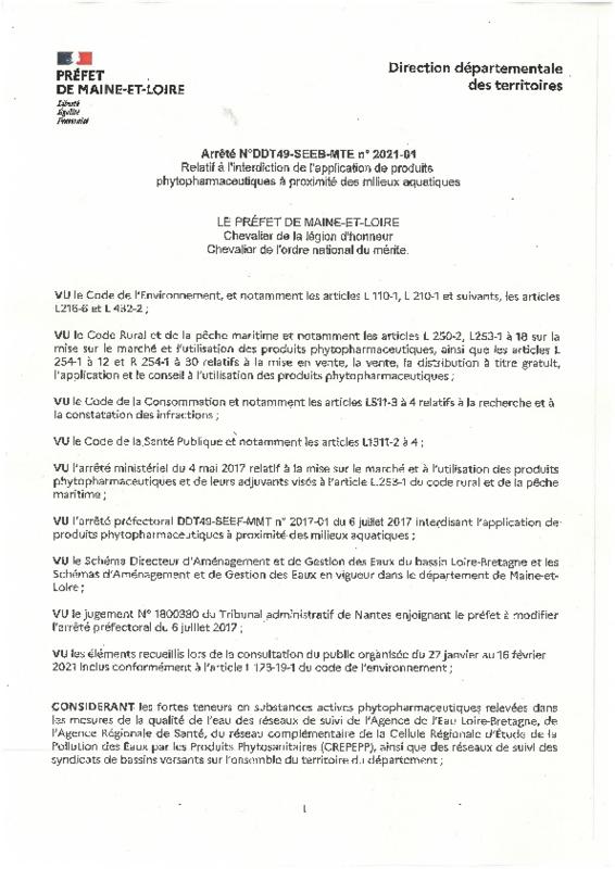 Arrêté N°DDT49-SEEB-MTE n° 2021-01 relatif à l'interdiction de l'application de produits phytopharmaceutiques à proximité des milieux aquatiques - application/pdf