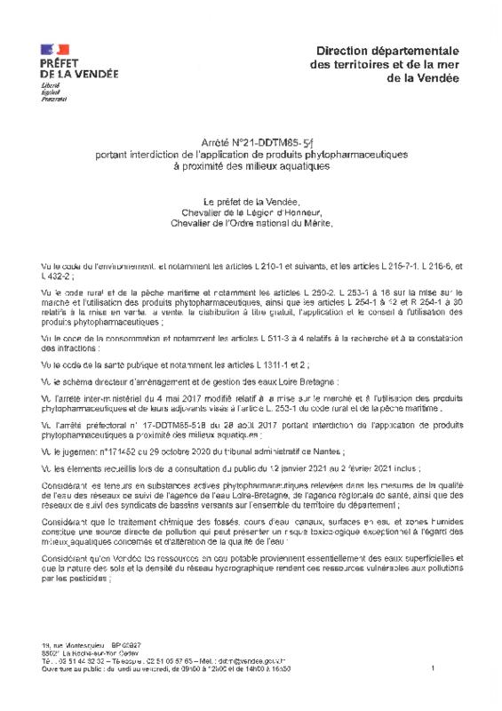 Arrêté N°21-DDTM85-51 du 16/02/2021 portant interdiction de l'application de produits phytopharmaceutiques à proximité des milieux aquatiques - application/pdf